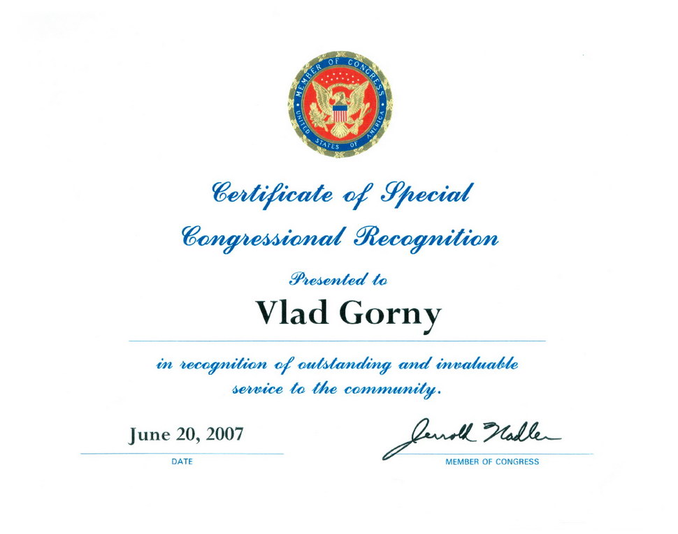 2007-Congressional-Recognition-to-Vlad-Gorny
